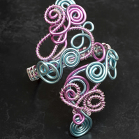 Handmade spiral bracelet cuff ,pink and light blue Anodized Aluminum Wire