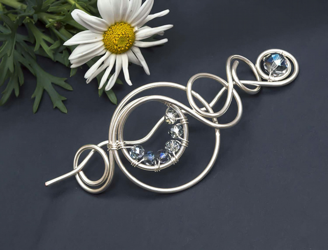 Hair Barrette, Hair Stick,Silver wire Hair slide, Hair Barrette,