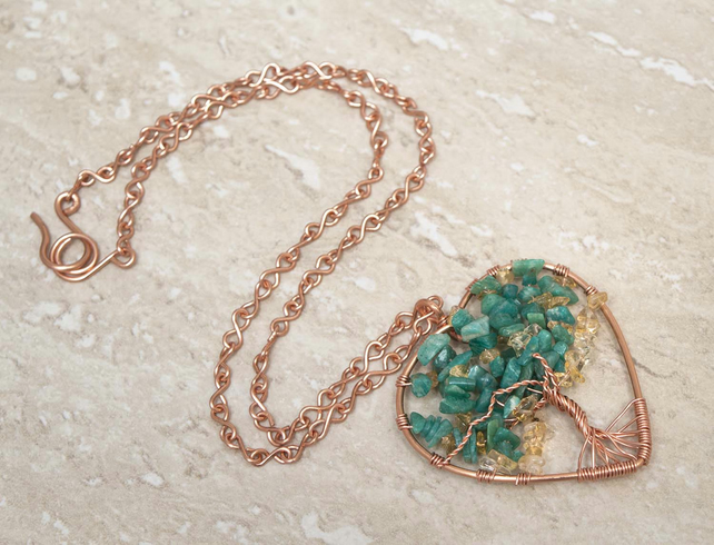 Wire Wrapped Tree Of Life Necklace,Russian Amazonite stone Necklace.