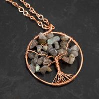 Labradorite Tree Of Life Pendant - Wire Wrapped Pendant Necklace -