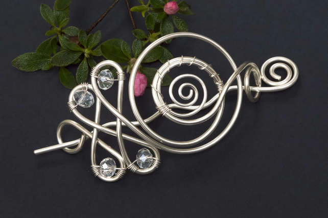 Hair slide, silver plated hair barrette,Simple Hair Accessories