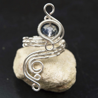 Silver ring jewellery,silver ring-adjustable wire wrapped silver ring .