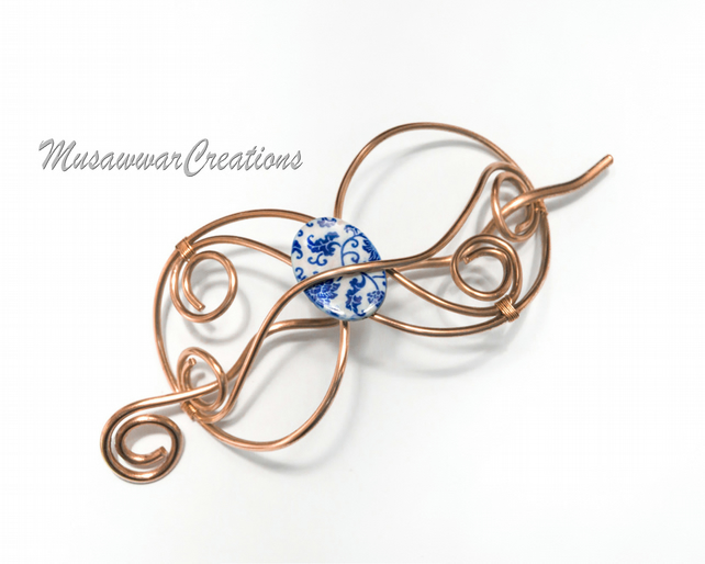 Copper hair bun slide ,hair pin, copper wire wrapped hair barrette, Copper