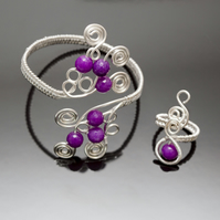 Bracelet cuff and ring ,Wire Wrapped Purple Quartzite Faceted bracelet and ring