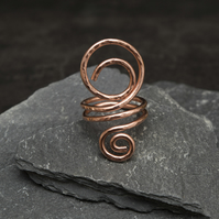 Statement Copper ring ,hammered and textured copper wire ring, copper ring .