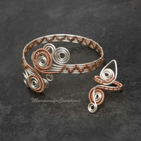 Bracelet and ring set,Woven bracelet Cuff silver plated Copper wire