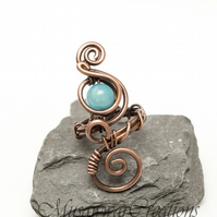 Blue quartz Wire wrapped Antique copper ring ,Adjustable copper ring,