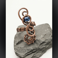 Blue Coated Haematite Wire wrapped Antique copper ring ,Adjustable copper ring