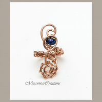 Blue Coated Haematite Wire wrapped shiny copper ring ,Adjustable copper ring