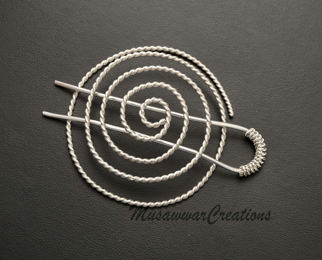 Silver plated copper Spiral bun cage ,hair bun holder,hair bun ,hair bun holder,