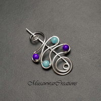 Silver shawl pin,sweater pin,silver plated scarf brooch,blue and purple quartz,