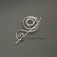 Swirl shape shawl pin,silver wire scarf pin,silver wire sweater pin,shawl