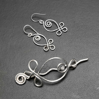 Celtic Spiral Silver plated Copper Shawl Pin, Scarf Pin, matching earrings