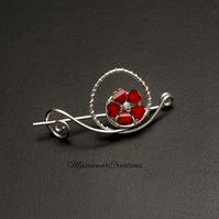 Flower charm Shawl and Sweater pin,Silver wire Shawl Pin,Shawl brooch,