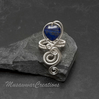 Silver heart shape spiral Lapis Lazuli ring ,silver plated ring,