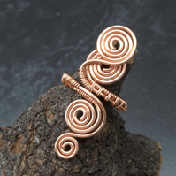 Spiral Copper ring jewellery,copper ring-adjustable, wire wrapped copper ring.