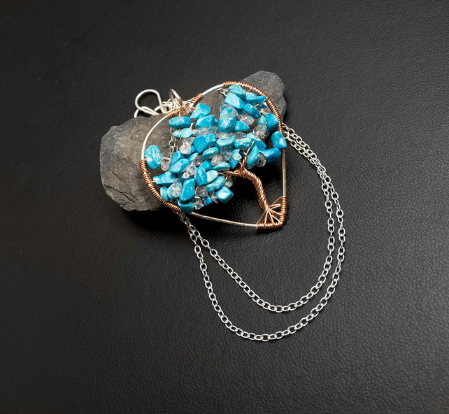 Tree of Life heart shape ,copperand silver wire pendant,turquoise  necklace,