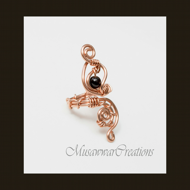 black agate Wire wrapped shiny copper ring ,Adjustable copper ring