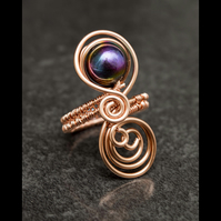 Copper ring,rainbow hematite copper ring, adjustable rings, copper wire ring-