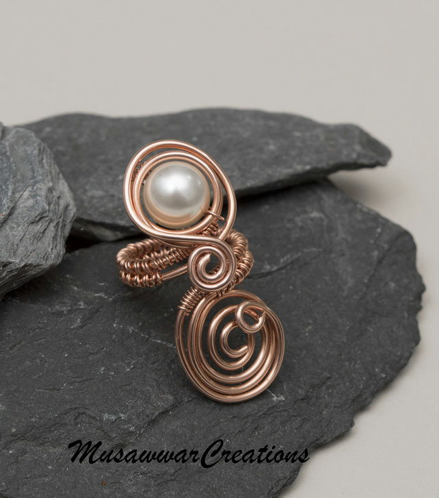 Copper ring ,copper ring-adjustable, wire wrapped Swarovski Pearls Round Crystal