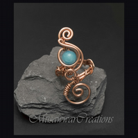 Wire wrapped copper adjustable ring ,Blue quartz copper ring, wire wrapped ring