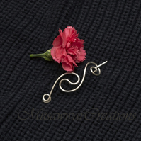 Shawl and Sweater pinSilver wire Shawl Pin,Shawl brooch, Sweater Pin,Silver