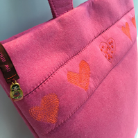 PINK FELT,  EMBROIDERED HEARTS SHOULDER BAG