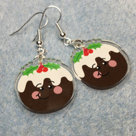 Acrylic Cute Christmas Pudding Earrings - FREE UK POSTAGE