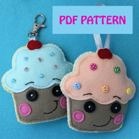 Cute Cupcake Felt PDF Pattern - Fun - Craft - Sewing