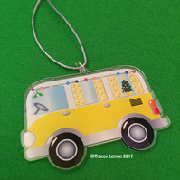 Yellow Christmas Camper Van Acrylic Hanging Tree Decoration