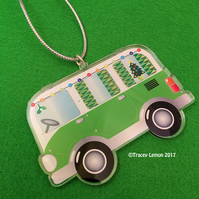 Green Christmas Camper Van Acrylic Hanging Tree Decoration