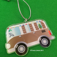 Brown Christmas Camper Van Acrylic Hanging Tree Decoration