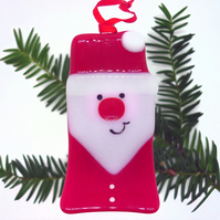 Fused Glass Santa Father Christmas Decoration - Handmade