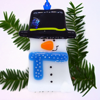 Fused Glass Snowman Christmas Decoration - Handmade