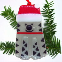 PRE-ORDER: Fused Glass Cat Christmas Decoration - Handmade