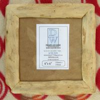"Rustic,driftwood style picture frame to fit 6""x6"".Pale hardwood"