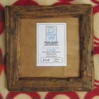 "Rustic,driftwood style picture frame to fit 6""x6"".Medium dark"