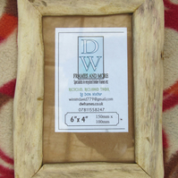 "Rustic,driftwood style, recycled hardwood picture frame to fit 6""x4"""