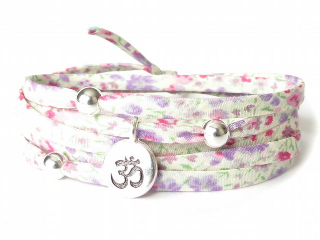 Pastel Yoga bracelet with Liberty fabric and sterling silver beads, Ohm charm