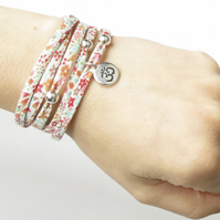 Yoga bracelet with Liberty fabric, sterling silver beads and Om charm