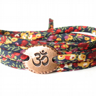 Yoga wrap bracelet with Liberty fabric and TierraCast Om charm, birthday gift