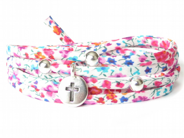 Liberty fabric bracelet for girls with sterling silver beads and cross charm