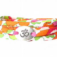 Yoga Liberty fabric bracelet for women with TierraCast Om charm, birthday gift