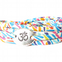 Yoga bracelet with Liberty fabric and TierraCast Om charm, birthday gift