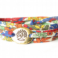 Liberty fabric multi wrap bracelet, colourful gift for best friend