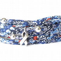 Blue Liberty fabric bracelet with awareness charm, gift for best friend