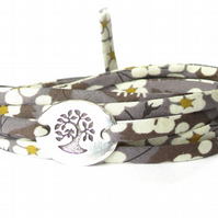 Liberty fabric bracelet in charcoal grey, TierraCast bird in a tree link