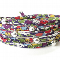 Wraparound bracelet with Liberty fabric and sterling silver beads, gift for girl