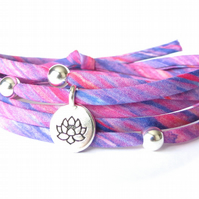 Lotus bracelet with Liberty fabric in purple and raspberry, gifts for girls