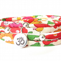 Yoga Liberty fabric bracelet for girls with sterling silver beads and Om charm